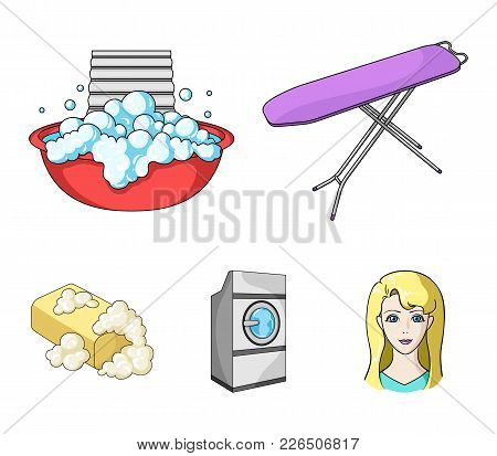 Ironing Board And Other Accessories. Dry Cleaning Set Collection Icons In Cartoon Style Vector Symbo