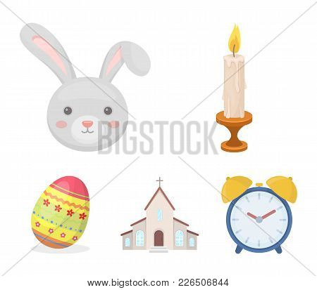 Church, Candle, Easter Bunny And Painted Egg.easter Set Collection Icons In Cartoon Style Vector Sym