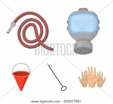 Gas Mask, Hose, Bucket, Bagore. Fire Department Set Collection Icons In Cartoon Style Vector Symbol