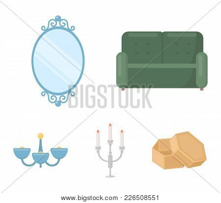 Sofa, Mirror, Candlestick, Chandelier.furniturefurniture Set Collection Icons In Cartoon Style Vecto