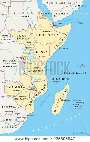 East Africa Region, Political Map. Area With Capitals, Borders, Lakes And Important Rivers. Easterly