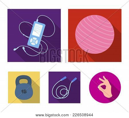 Ball, Player And Other Equipment For Training.gym And Workout Set Collection Icons In Flat Style Vec