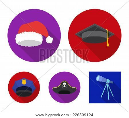 Graduate, Santa, Police, Pirate. Hats Set Collection Icons In Flat Style Vector Symbol Stock Illustr