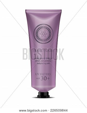 Cosmetic Luxury Packaging, Plastic Tube. Container With Small Black Cap. Velvet Tube Mock-up For Oil