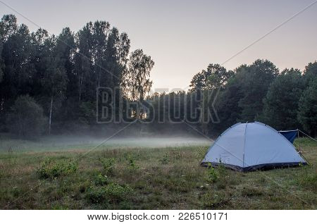 Morning Fog At The Campground By The River Wda In  Bory Tucholskie
