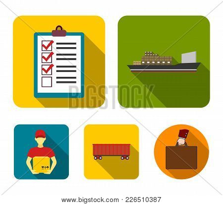 Cargo Ship, Documents, Railway Car, Courier With Box.logistic Set Collection Icons In Flat Style Vec