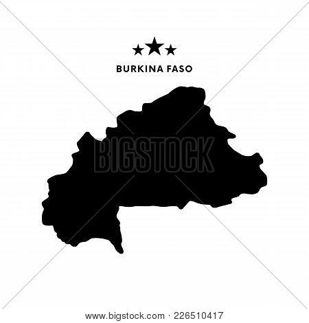 Burkina Faso Map. Text With Stars. Vector Illustration.
