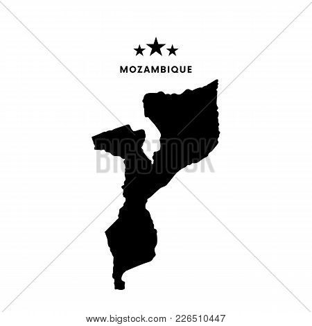 Mozambique Map. Text With Stars. Vector Illustration.