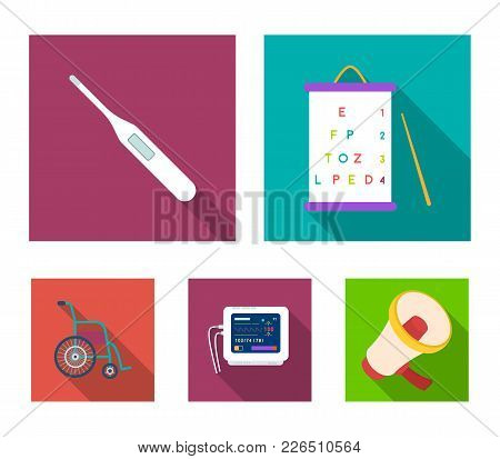 Table For Checking Eyesight, Electronic Thermometer, Ecg Device. Medicine Set Collection Icons In Fl