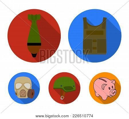 Bullet-proof Vest, Mine, Helmet, Gas Mask. Military And Army Set Collection Icons In Flat Style Vect