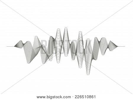 Digital Sound Wave. Audio Equalizer. Musical Pulse. Vector Music Wave. Monochrome Illustration On Wh