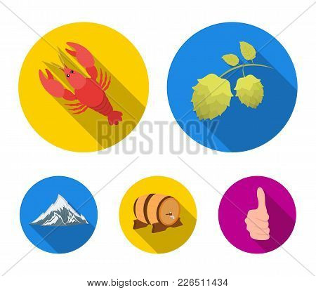 Alps, A Barrel Of Beer, Lobster, Hops. Oktoberfestset Collection Icons In Flat Style Vector Symbol S