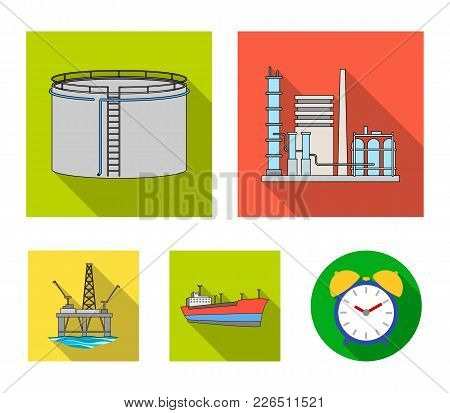 Oil Refinery, Tank, Tanker, Tower. Oil Set Collection Icons In Flat Style Vector Symbol Stock Illust