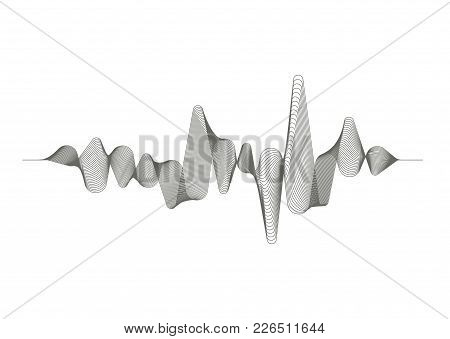Monochrome Sound Wave On White Background. Audio Digital Equalizer Technology. Musical Pulse. Vector