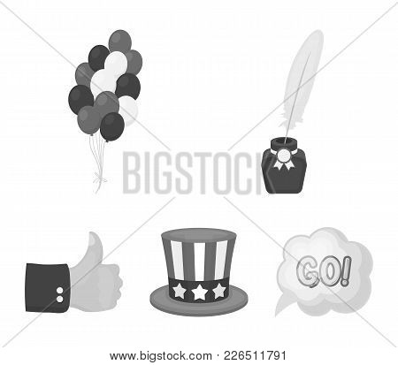 Balloons, Inkwell With A Pen, Uncle Sam's Hat. The Patriot's Day Set Collection Icons In Monochrome