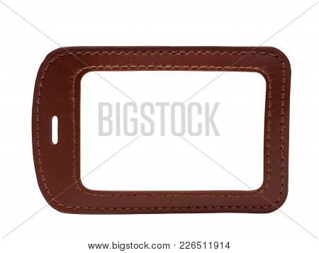 Open Plastic Card, Leather Cover Stand , Isolated On White Background. (clipping Path)