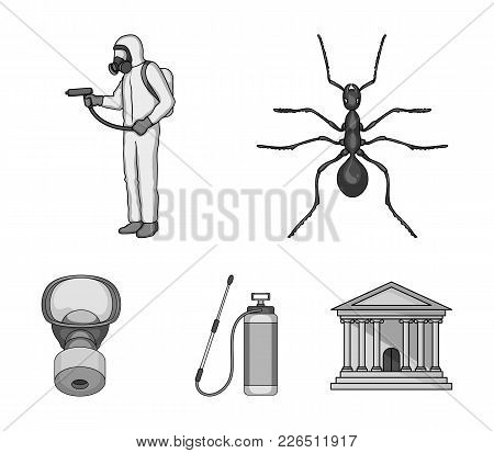 Ant, Staff In Overalls And Equipment Monochrome Icons In Set Collection For Design. Pest Control Ser