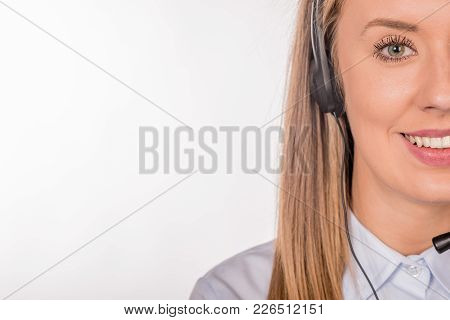 Portrait Of Happy Smiling Cheerful Support Phone Operator In Headset, Isolated On White Background F