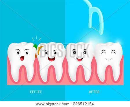 Teeth With Dental Floss For Health Care. Before And After, Dental Care Concept. Cute Cartoon Tooth C