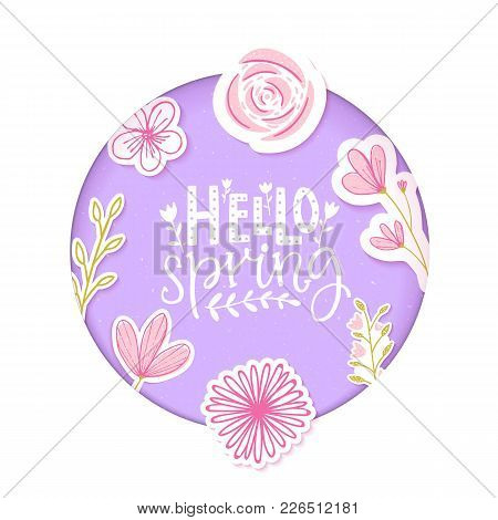 Hello Spring Text In Pastel Purple Paper Clip Art With Flowers And Hand Drawn Branches