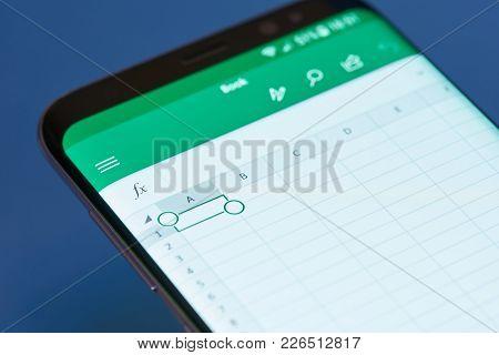 New York, Usa - February 13, 2018: Excel  Moblie Menu Application Menu On Smartphone Screen Close-up