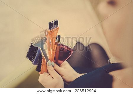 Professional Hairdresser Tools In The Hands Of The Stylist. Toned Image. Many Brushes For Dyeing Hai