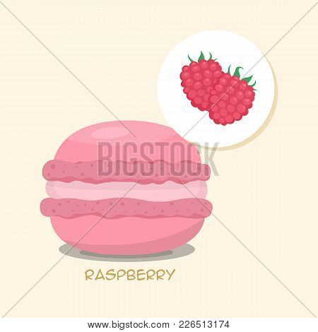 Macaroon With Raspberry Taste, Flavor And Filling. Green Macaroon With Title. Tasty Cake For Your Me