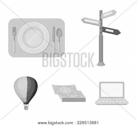Vacation, Travel, Pointer, Way, Navigation .rest And Travel Set Collection Icons In Monochrome Style