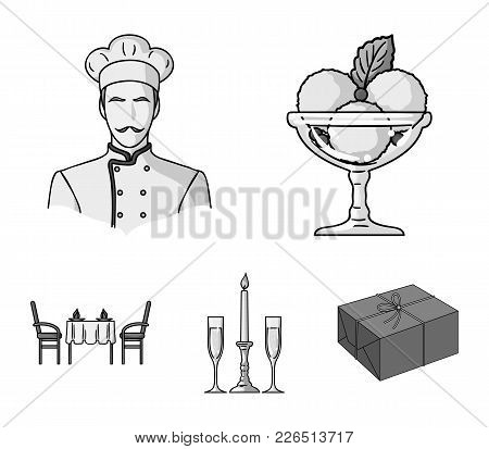 Ice Cream With Fruit, Chef, Candle And Glasses, A Covered Table.restaurant Set Collection Icons In M