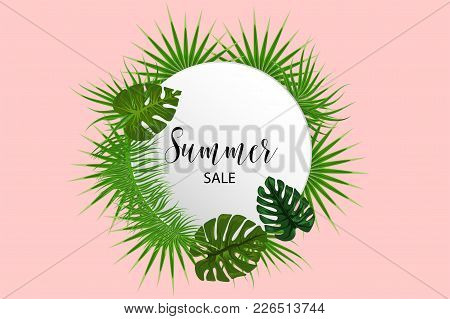 Summer Sale Poster. Tropical Background Vector Palm Leaf. Exotic Summer Green Jungle Tree. Hawaii Pl