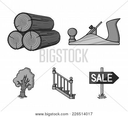Logs In A Stack, Plane, Tree, Ladder With Handrails. Sawmill And Timber Set Collection Icons In Mono