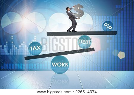 Businessman in debt and tax business concept