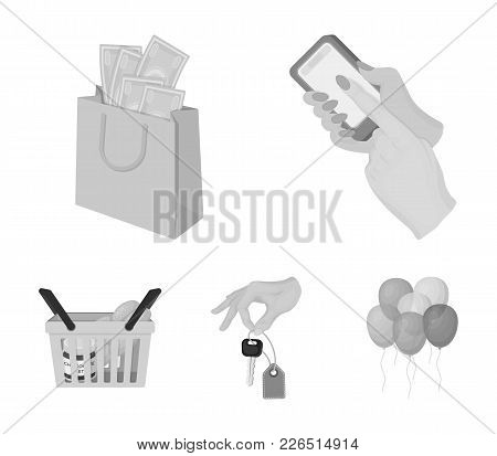Mobile Phone, A Package With Money And Other  Icon In Monochrome Style. A Key In Hand, A Basket With