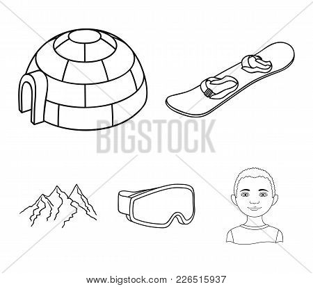 Funicular, Tent, Road Sign, Snow Cannon. Ski Resort Set Collection Icons In Outline Style Vector Sym