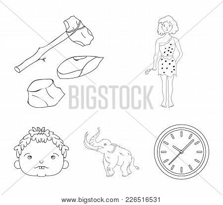 Weapon, Hammer, Elephant, Mammoth .stone Age Set Collection Icons In Outline Style Vector Symbol Sto