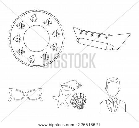 Water Attraction, Seashells, Goggles.summer Vacation Set Collection Icons In Outline Style Vector Sy