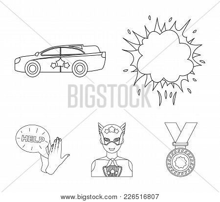 Explosion, Fire, Smoke And Other  Icon In Outline Style.superman, Superforce, Cry, Icons In Set Coll