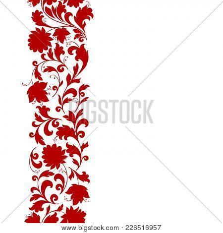 Floral Seamless Pattern Design Element. Flower Border Ornament. Ornamental Flourish Background, Ethn