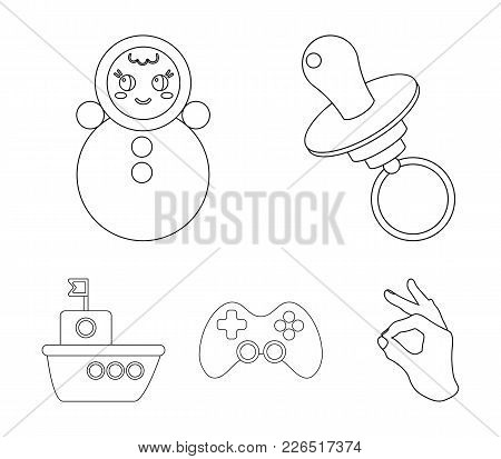Nipple, Doll Tumbler, Joystick, Ship.toys Set Collection Icons In Outline Style Vector Symbol Stock
