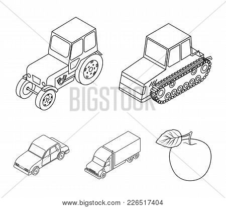 Tractor, Caterpillar Tractor, Truck, Car. Transport Set Collection Icons In Outline Style Vector Sym