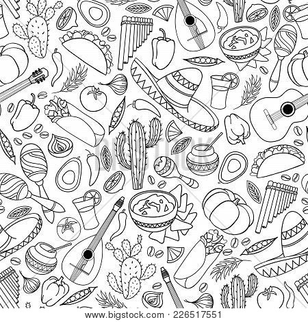 Mexican Food And Musical Instruments Icons Seamless Pattern. Traditional Mexican Culture Icons Backg