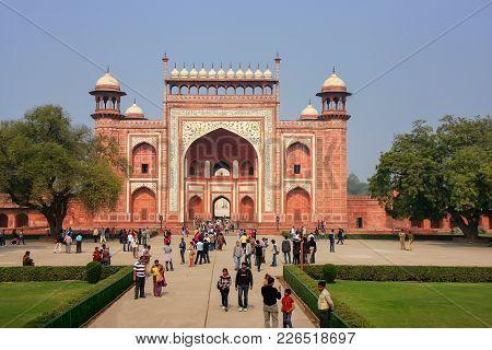 Agra, India - January 31: Unidentified People Stand Near Darwaza-i-rauza (great Gate) In Chowk-i Jil