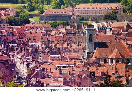 Aerial View Of Besancon Old City With Red Tiled Rooftops At Sunny Day, France, Europe