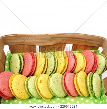 Macaroons. Colorful macaroons a in the basket.