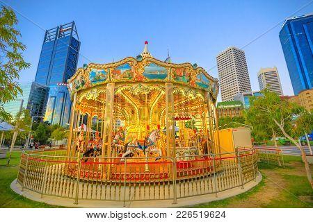 Perth, Australia - Jan 6, 2018: Traditional Venetian Carousel At Elizabeth Quay, Perth, Wa. Esplanad
