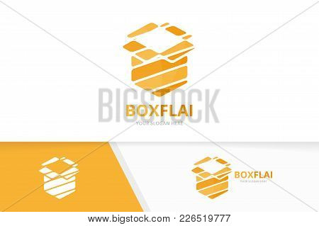 Vector Box And Post Logo Combination. Package And Surprise Symbol Or Icon. Unique Delivery Logotype
