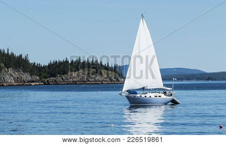 A Blue And White Sailboat Is Traveling In Frenchmans Bay Maine And Is Surrounded By Lobster Trap Buo