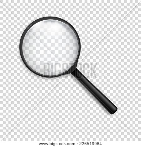 Photo-realistic Vector 3d Black Magnifying Glass Or Loup Icon Closeup Isolated On Transparency Grid