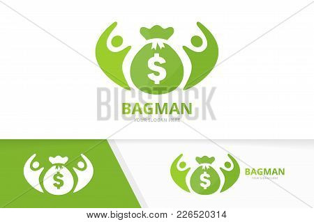 Vector Bag And People Logo Combination. Sack And Family Symbol Or Icon. Unique Money And Union, Help