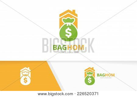 Vector Bag And Real Estate Logo Combination. Sack And House Symbol Or Icon. Unique Money And Rent Lo